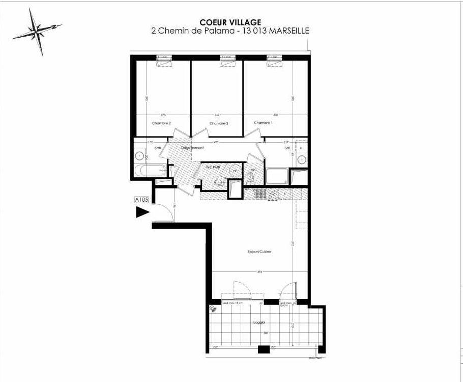 Plan A105, appartement neuf type T4 au 1er étage, orienté Est faisant 86m² du programme neuf Coeur Village à Marseille.