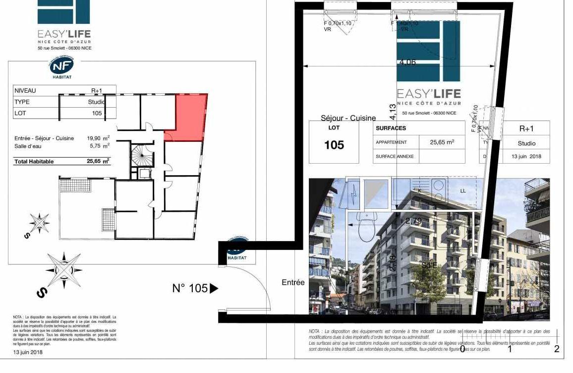 Plan A105, appartement neuf type T1 au 1er étage, orienté Ouest faisant 26m² du programme neuf Easy Life à Nice.