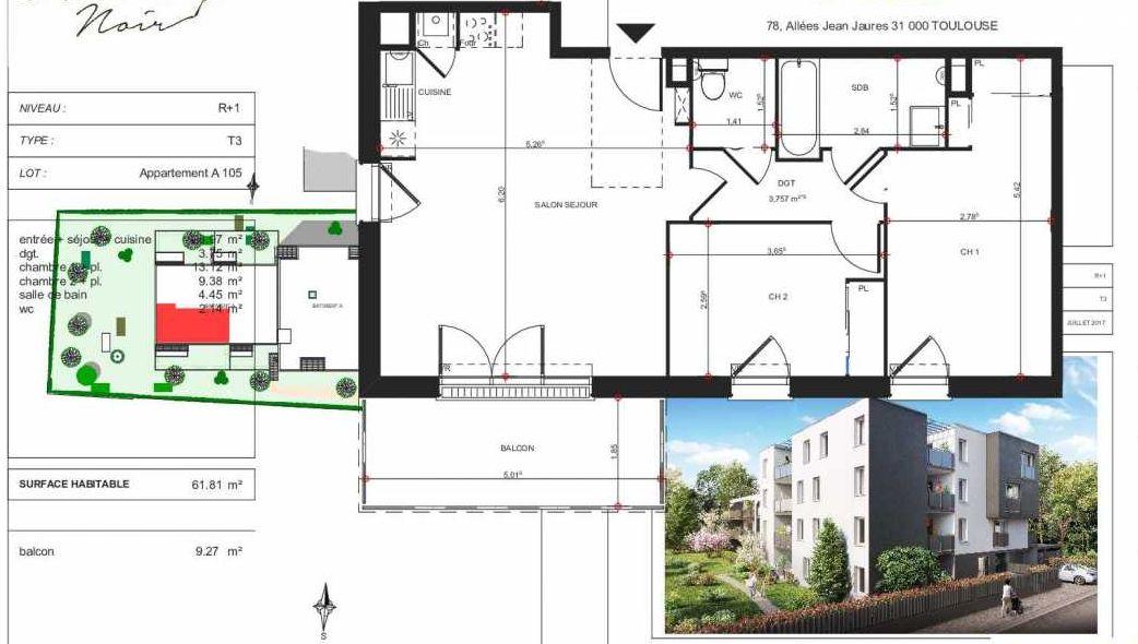 Plan A105, appartement neuf type T3 au 1er étage, orienté Sud faisant 62m² du programme neuf Le Hussard Noir à Toulouse.