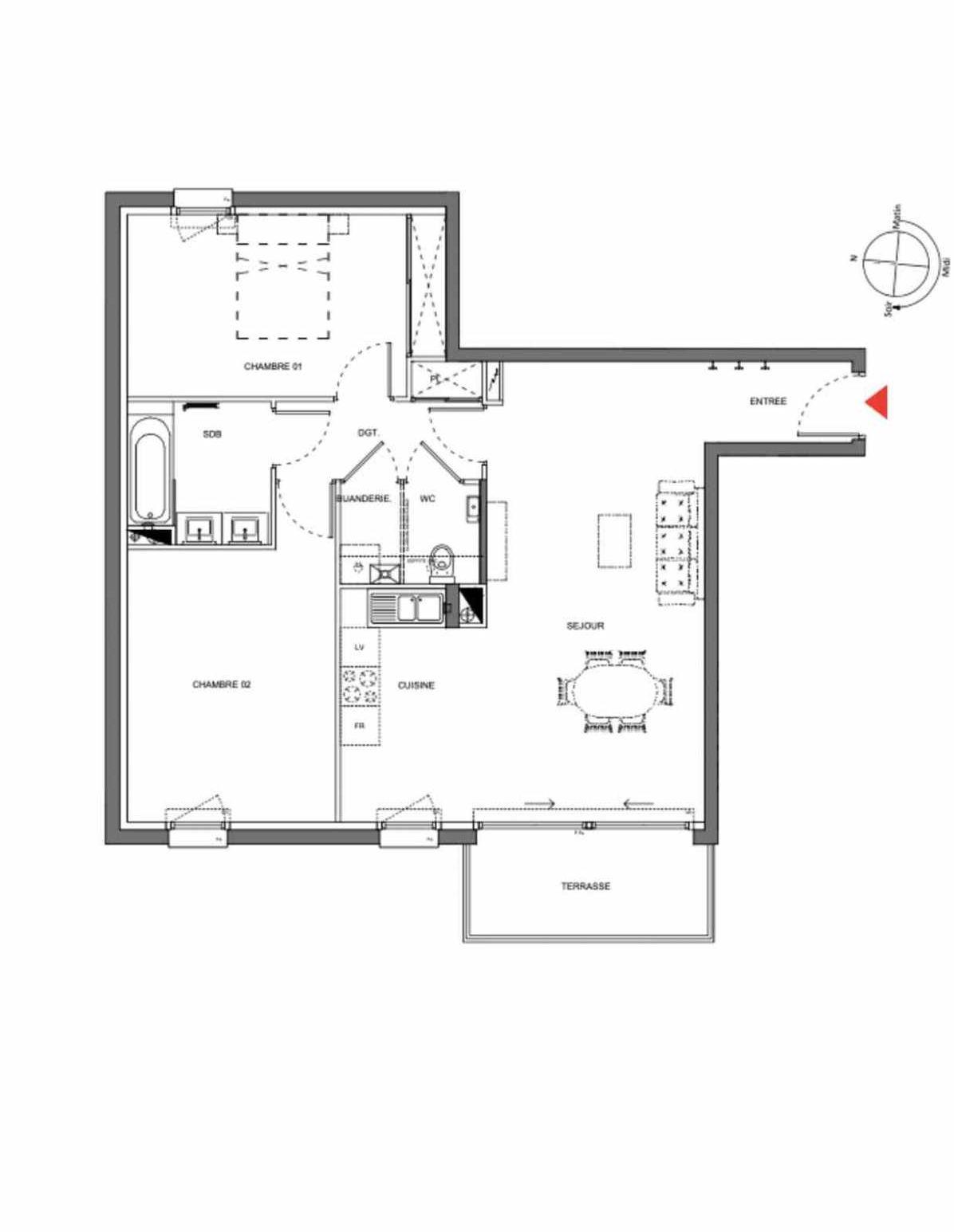 Plan A105, appartement neuf type T3 au 1er étage, orienté Est faisant 73m² du programme neuf Les Demeures d'Henriville à Amiens.