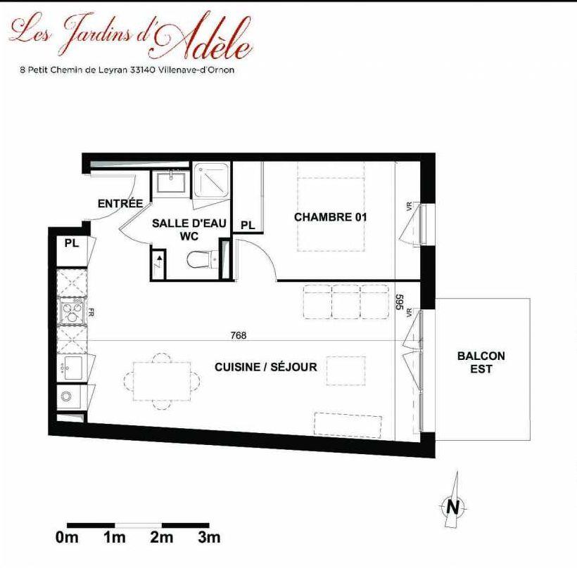 Plan A105, appartement neuf type T2 au 1er étage, orienté Est faisant 41m² du programme neuf Les Jardins d'Adèle à Villenave-d'Ornon.