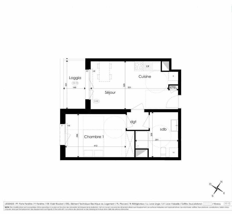 Plan A105, appartement neuf type T2 au 1er étage, faisant 41m² du programme neuf Les Jardins d'Arc à Amiens.