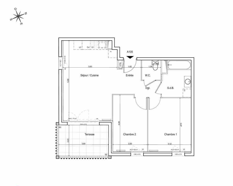 Plan A105, appartement neuf type T3 au 1er étage, orienté Sud faisant 57m² du programme neuf LES JARDINS DU CANAL à Arles.