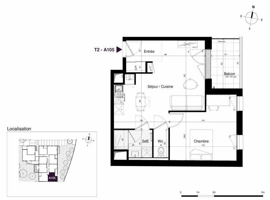 Plan A105, appartement neuf type T2 au 1er étage, orienté Est faisant 45m² du programme neuf LES RIVES DE LUCE à Sainte-Luce-sur-Loire.