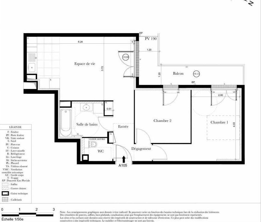 Plan A105, appartement neuf type T3 au 1er étage, orienté Ouest faisant 58m² du programme neuf Symbiose à Bezons.