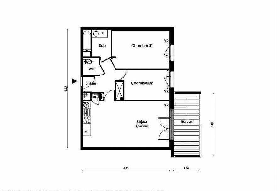 Plan A105, appartement neuf type T3 au 1er étage, faisant 62m² du programme neuf TOSCANI SIENNE à Saint-Orens-de-Gameville.