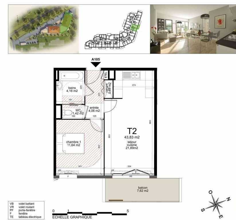 Plan A105, appartement neuf type T2 au 1er étage, orienté Sud faisant 43m² du programme neuf TOULON ESTEREL à Toulon.