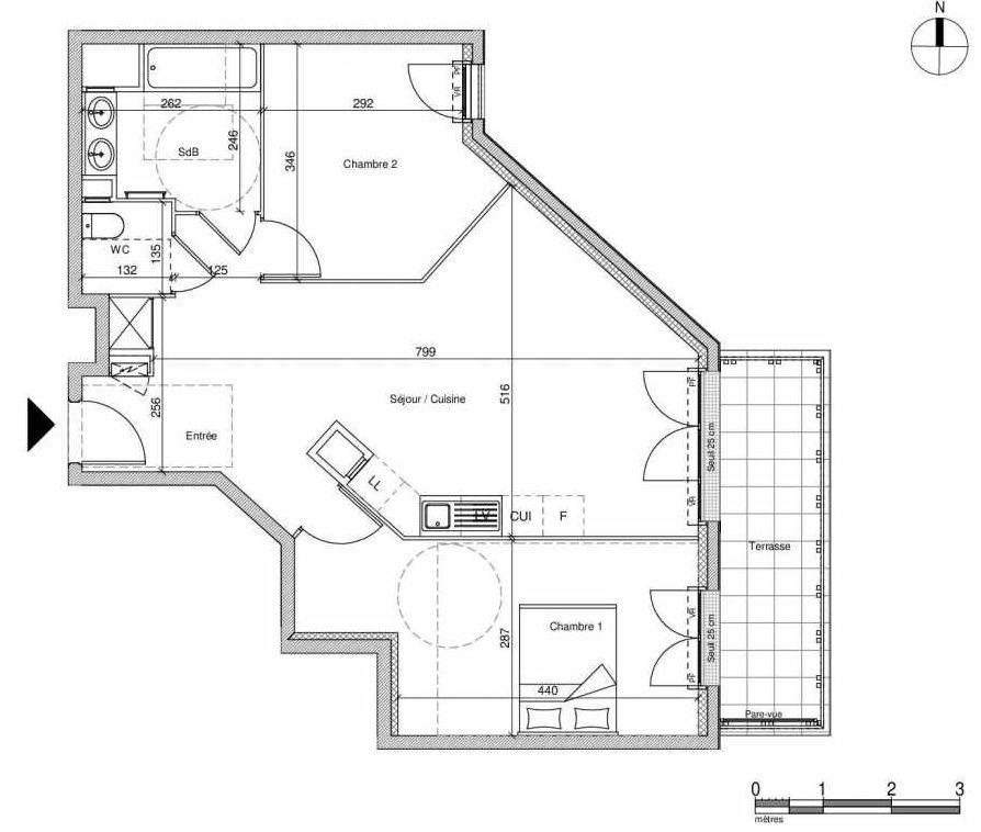 Plan A106, appartement neuf type T3 au Rez de chaussée, faisant 64m² du programme neuf 12 Liberty à Chennevières-sur-Marne.