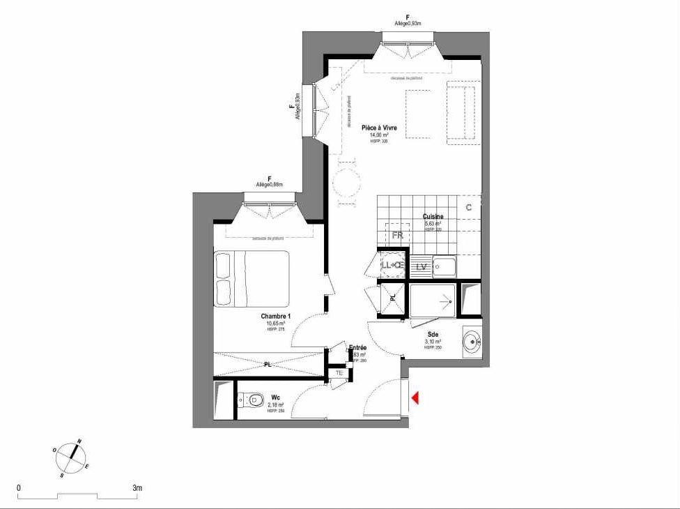 Plan A106, appartement neuf type T2 au 1er étage, orienté Ouest faisant 43m² du programme neuf 1708 à Fontainebleau.