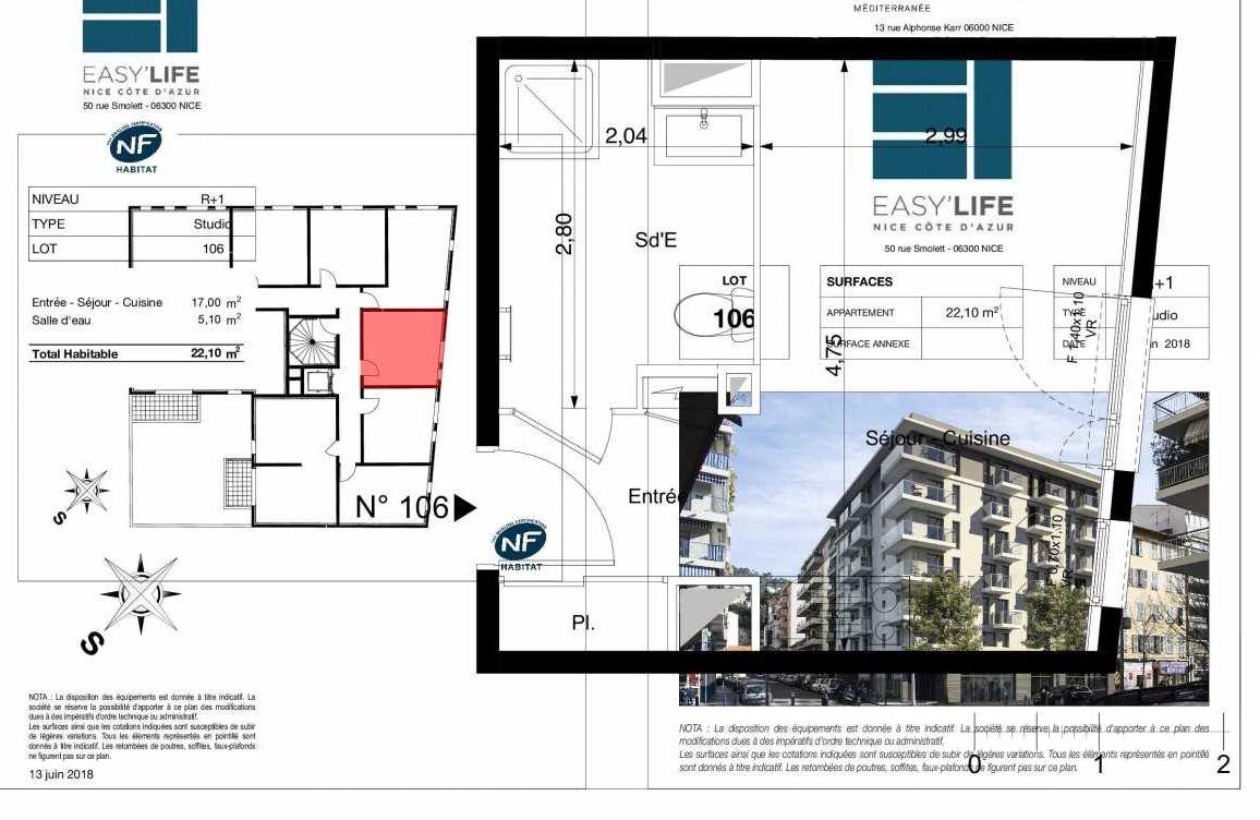 Plan A106, appartement neuf type T1 au 1er étage, orienté Est faisant 22m² du programme neuf Easy Life à Nice.
