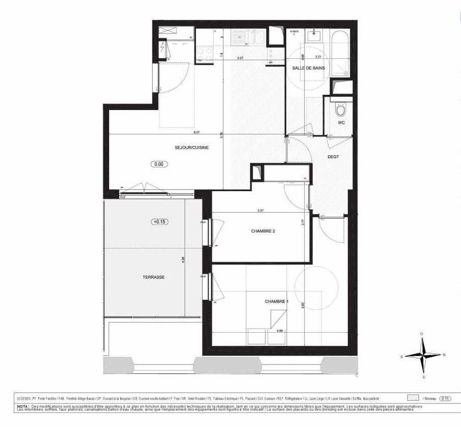 Plan A106, appartement neuf type T3 au 1er étage, orienté Est faisant 64m² du programme neuf Halle 12 à Dijon.