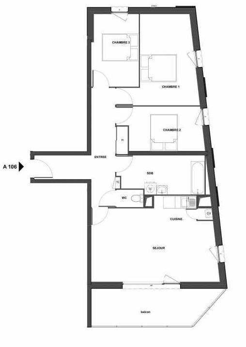 Plan recadré du lot neuf du programme neuf Le Clos Marguerite