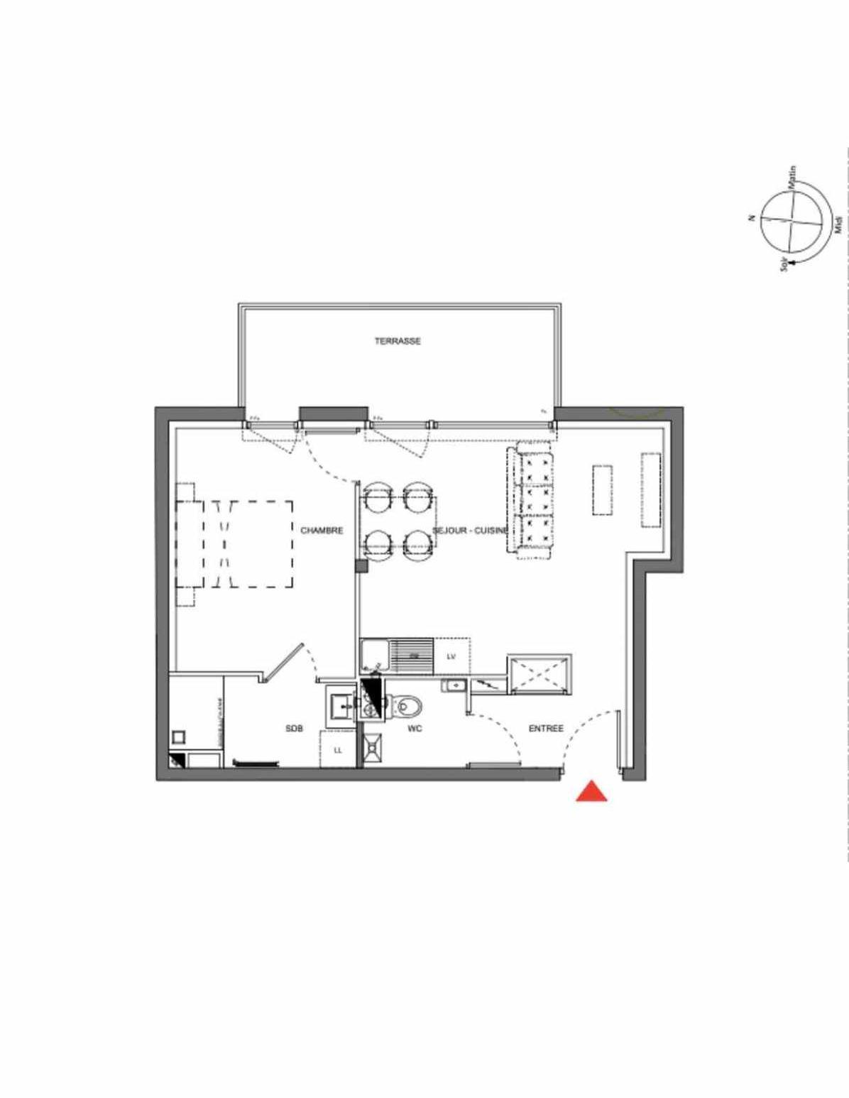 Plan A106, appartement neuf type T2 au 1er étage, orienté Est faisant 40m² du programme neuf Les Demeures d'Henriville à Amiens.