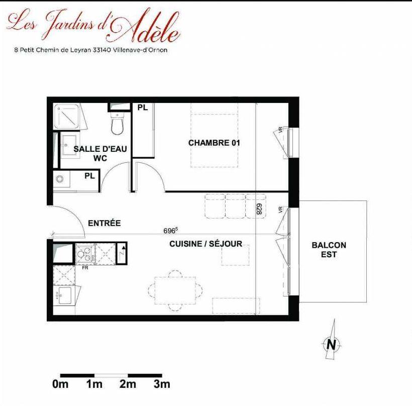 Plan A106, appartement neuf type T2 au 1er étage, orienté Est faisant 42m² du programme neuf Les Jardins d'Adèle à Villenave-d'Ornon.