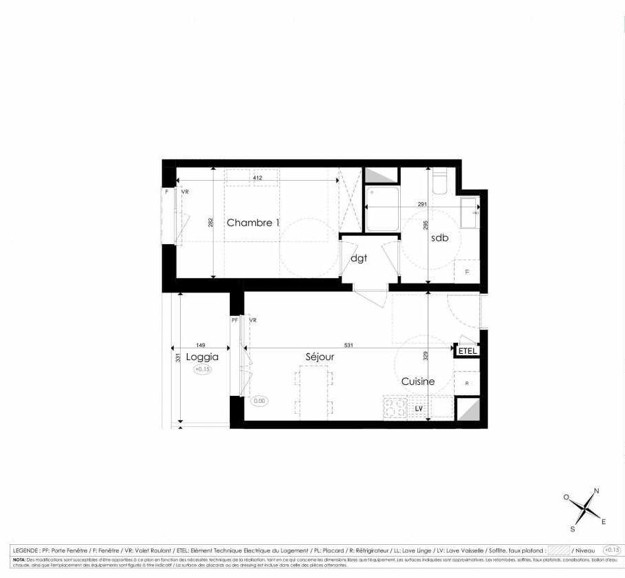 Plan A106, appartement neuf type T2 au 1er étage, faisant 40m² du programme neuf Les Jardins d'Arc à Amiens.