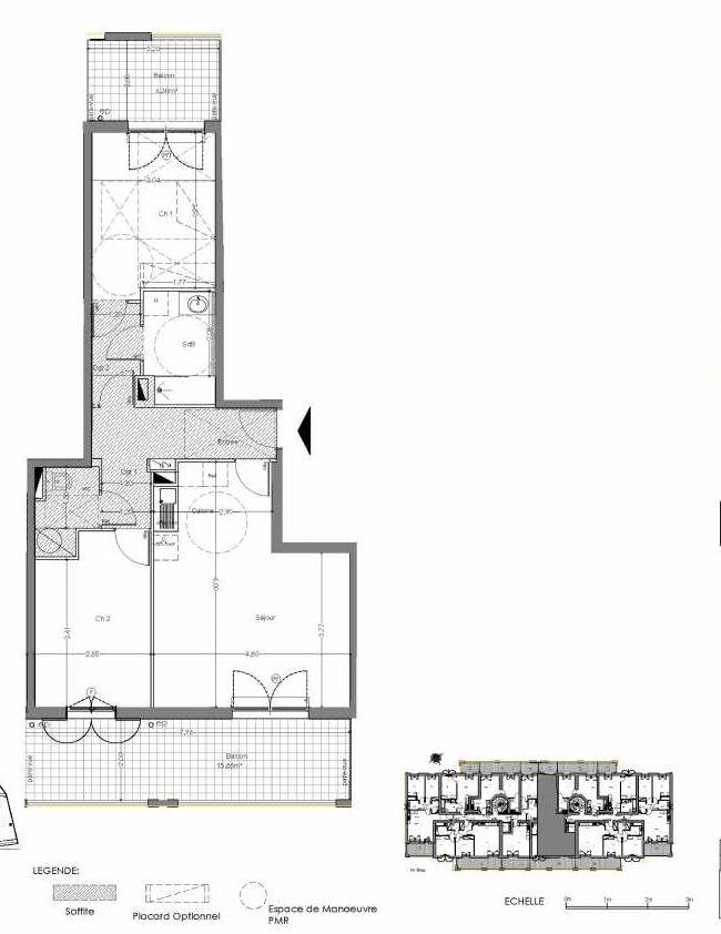 Plan A106, appartement neuf type T3 au 1er étage, orienté Sud faisant 66m² du programme neuf Loderi à Bormes-les-Mimosas.