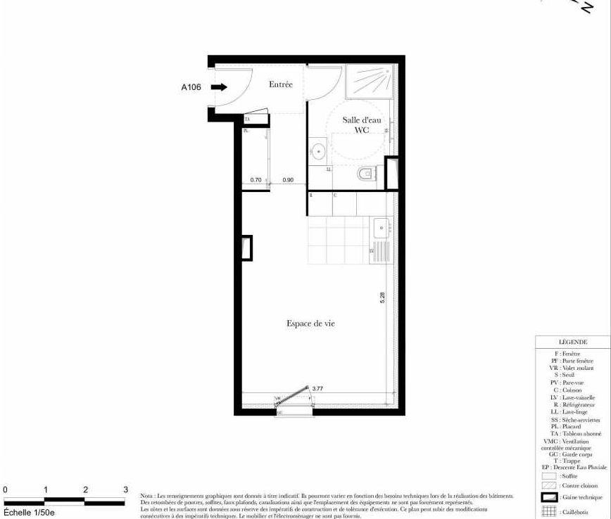 Plan A106, appartement neuf type T1 au 1er étage, orienté Est faisant 32m² du programme neuf Symbiose à Bezons.