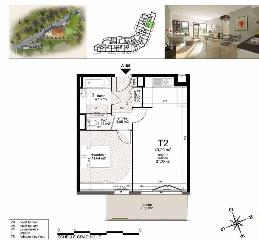 Plan A106, appartement neuf type T2 au 1er étage, orienté Sud faisant 43m² du programme neuf TOULON ESTEREL à Toulon.