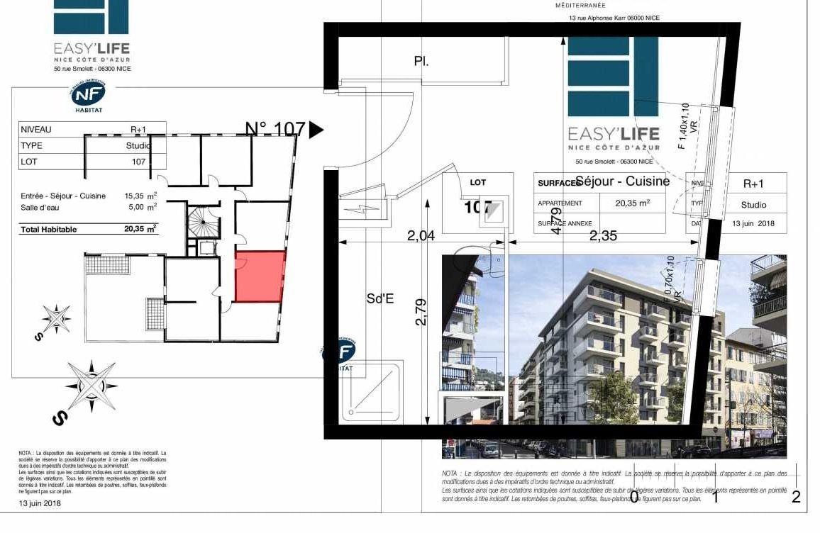 Plan A107, appartement neuf type T1 au 1er étage, orienté Est faisant 20m² du programme neuf Easy Life à Nice.