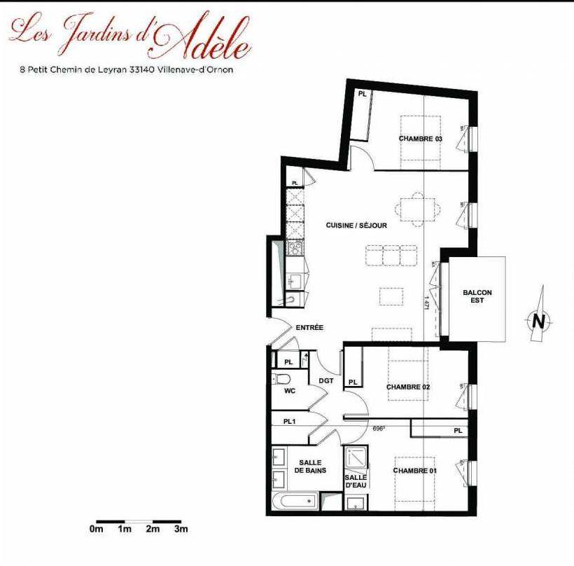 Plan A107, appartement neuf type T4 au 1er étage, orienté Est faisant 86m² du programme neuf Les Jardins d'Adèle à Villenave-d'Ornon.