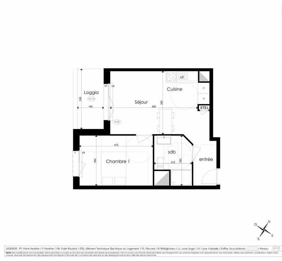 Plan A107, appartement neuf type T2 au 1er étage, faisant 40m² du programme neuf Les Jardins d'Arc à Amiens.