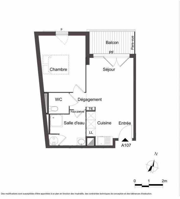 Plan A107, appartement neuf type T2 au 1er étage, orienté Nord faisant 43m² du programme neuf Les Jardins du Faron à Toulon.