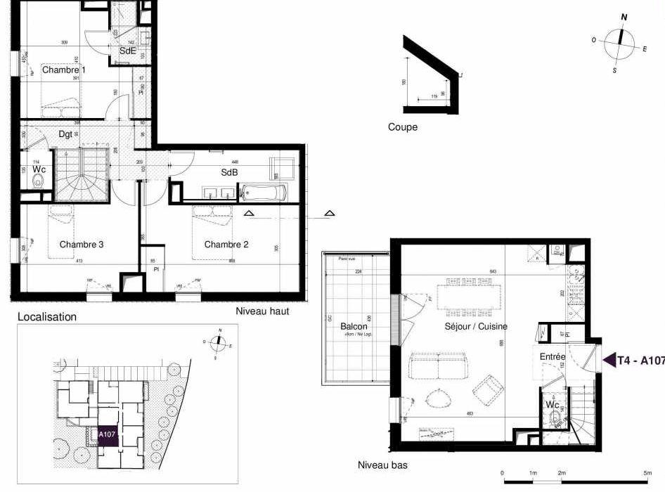 Plan A107, appartement neuf type T4 au 1er étage, orienté Ouest faisant 100m² du programme neuf LES RIVES DE LUCE à Sainte-Luce-sur-Loire.