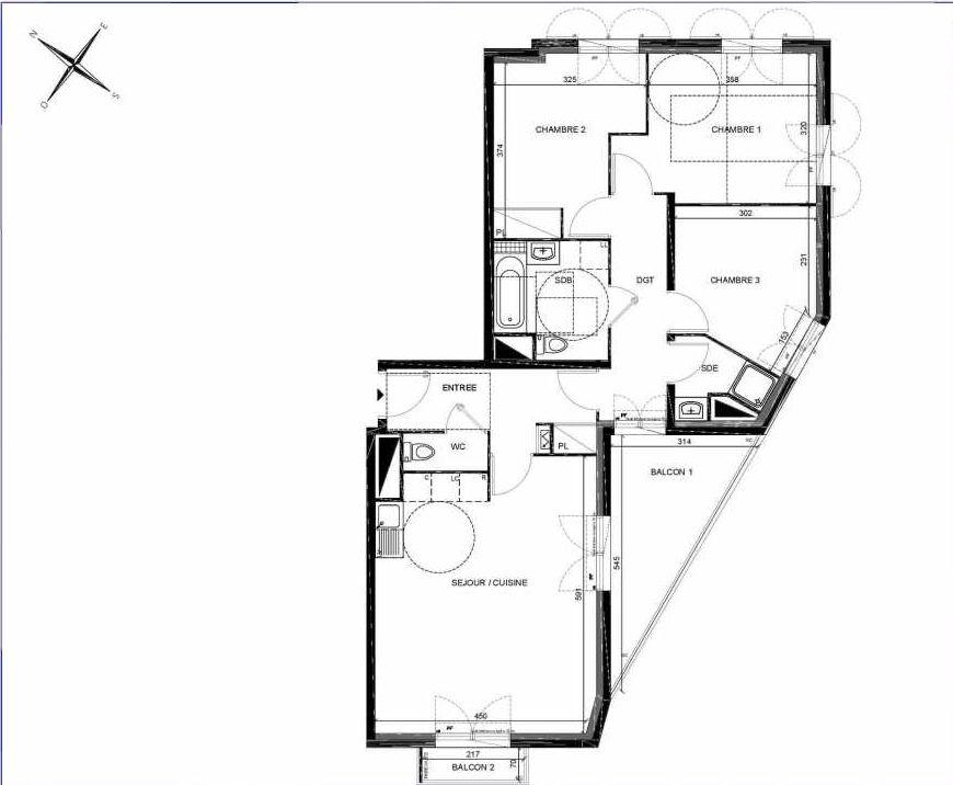 Plan A107, appartement neuf type T4 au 1er étage, orienté Sud faisant 81m² du programme neuf PASTELS à Villiers-sur-Marne.