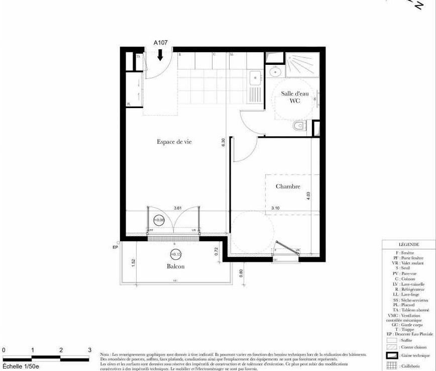 Plan A107, appartement neuf type T2 au 1er étage, orienté Est faisant 43m² du programme neuf Symbiose à Bezons.