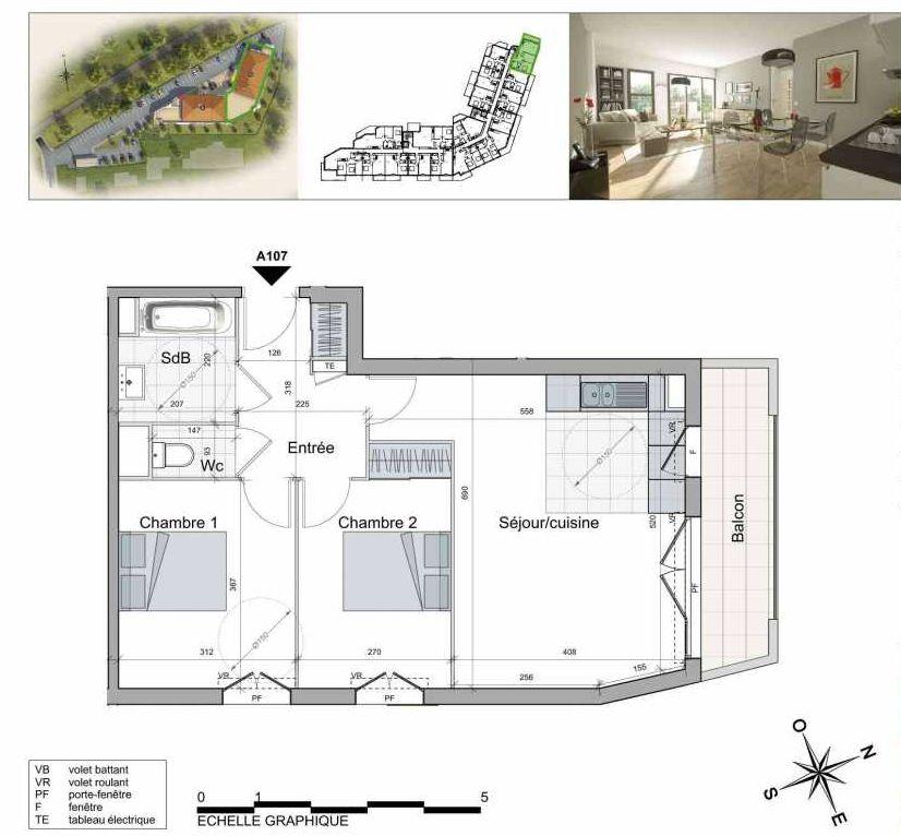 Plan A107, appartement neuf type T3 au 1er étage, orienté Sud faisant 58m² du programme neuf TOULON ESTEREL à Toulon.