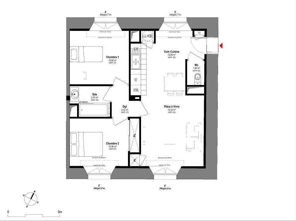 Plan A108, appartement neuf type T3 au 1er étage, orienté Sud faisant 57m² du programme neuf 1708 à Fontainebleau.
