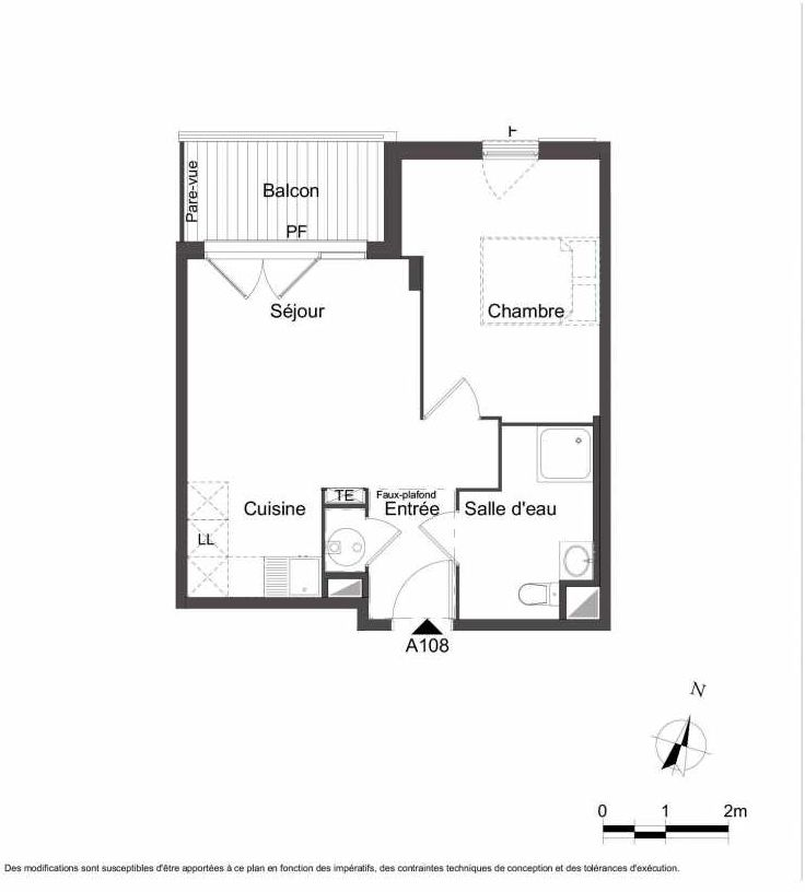 Plan A108, appartement neuf type T2 au 1er étage, orienté Nord faisant 41m² du programme neuf Les Jardins du Faron à Toulon.
