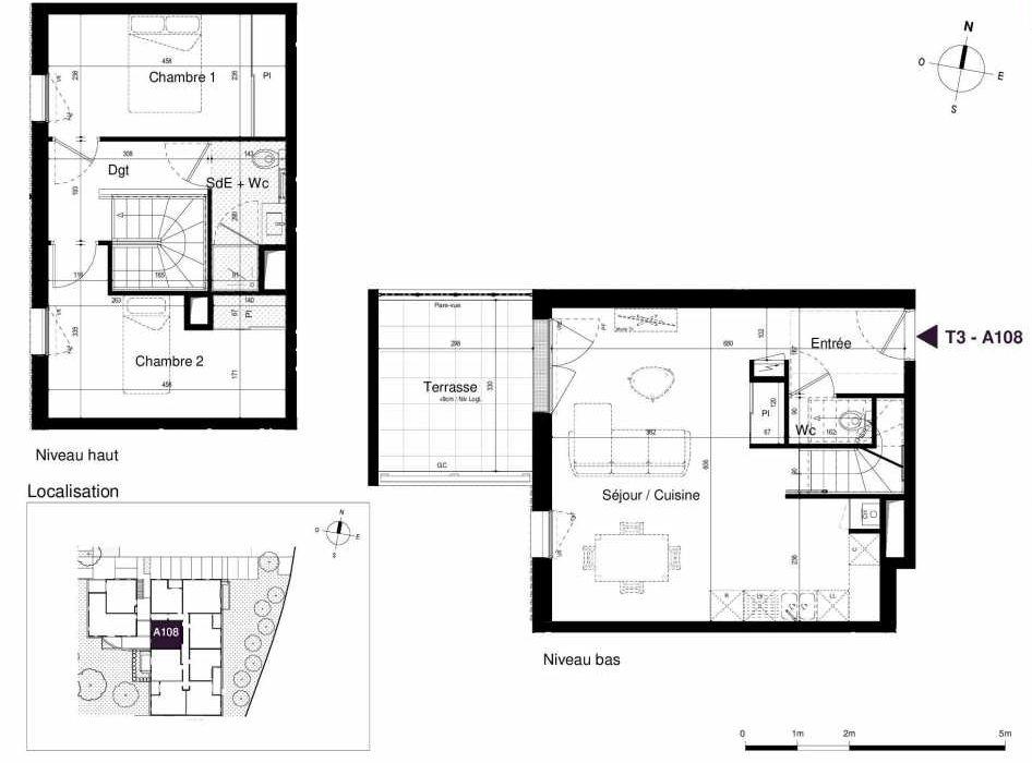 Plan A108, appartement neuf type T3 au 1er étage, orienté Ouest faisant 67m² du programme neuf LES RIVES DE LUCE à Sainte-Luce-sur-Loire.