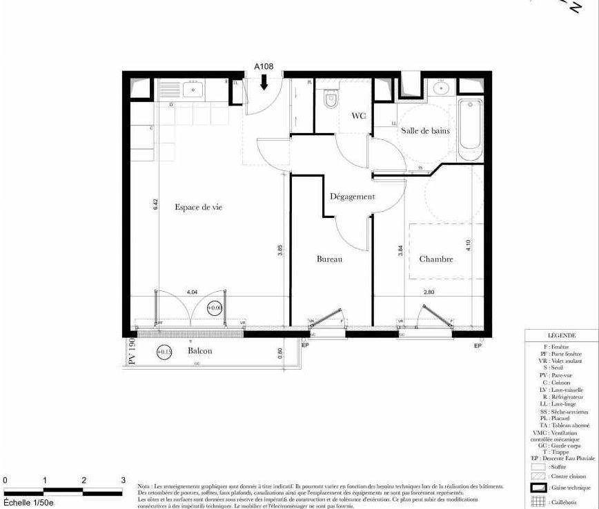 Plan A108, appartement neuf type T2 au 1er étage, orienté Est faisant 54m² du programme neuf Symbiose à Bezons.