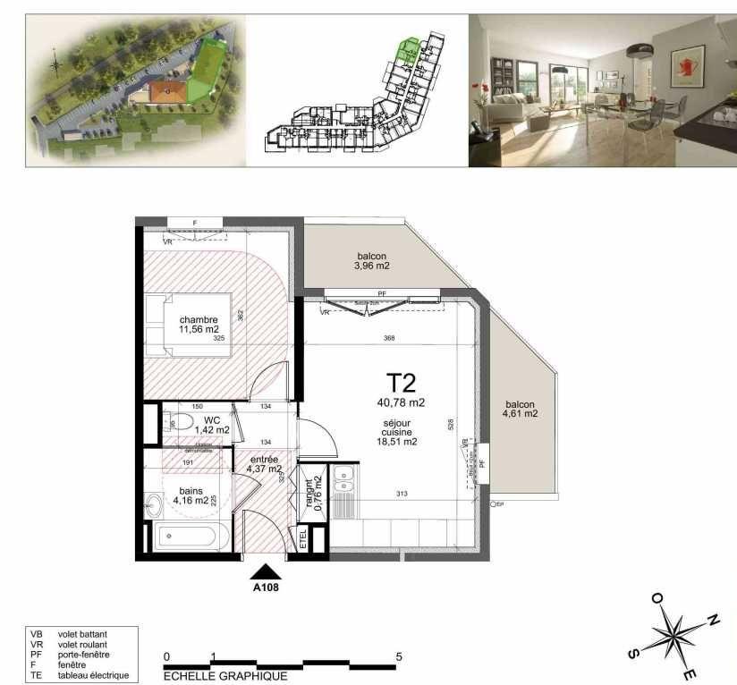 Plan A108, appartement neuf type T2 au 1er étage, orienté Nord faisant 41m² du programme neuf TOULON ESTEREL à Toulon.