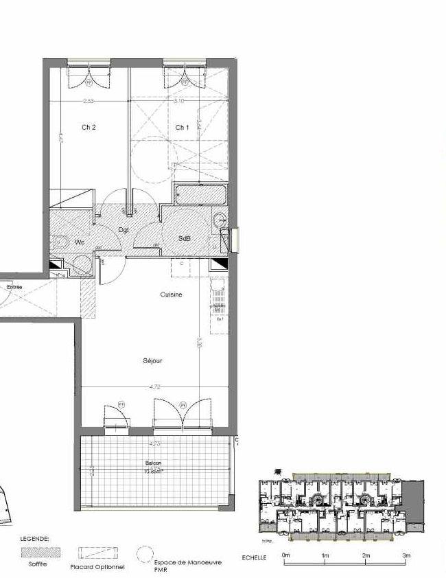 Plan A109, appartement neuf type T3 au 1er étage, orienté Sud faisant 63m² du programme neuf Loderi à Bormes-les-Mimosas.