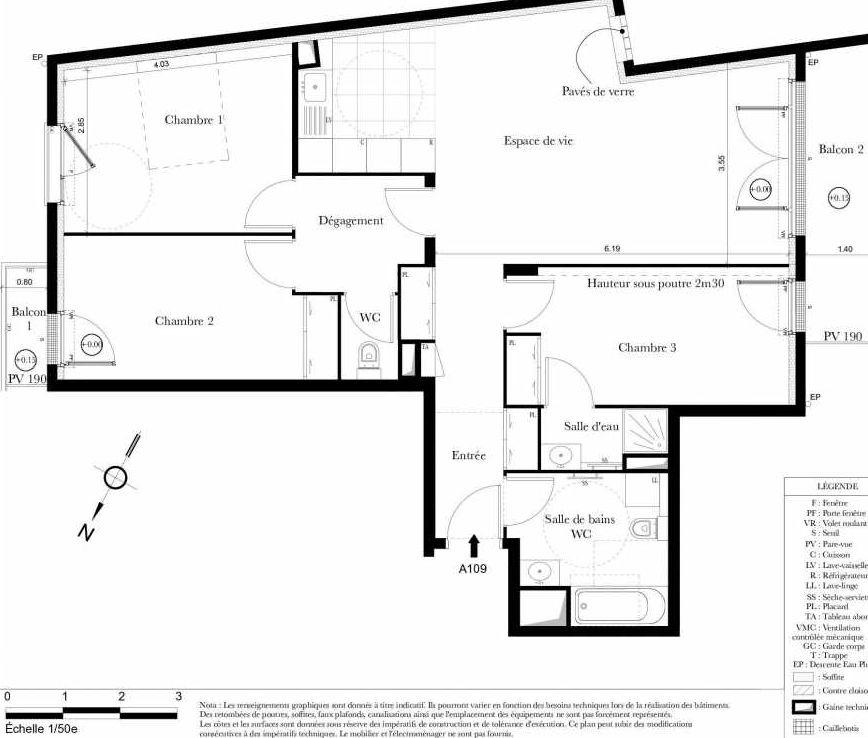 Plan A109, appartement neuf type T4 au 1er étage, orienté Sud faisant 87m² du programme neuf Symbiose à Bezons.