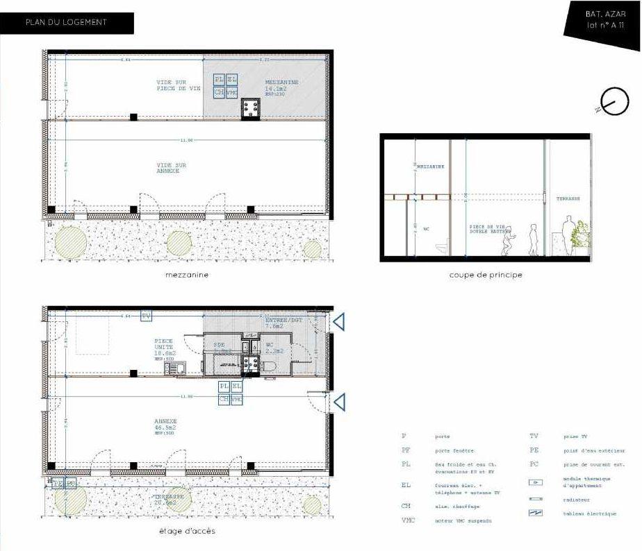 Plan A11, appartement neuf type T5 au 1er étage, orienté Nord faisant 32m² du programme neuf Brazza à Bordeaux.