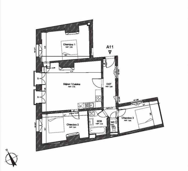 Plan A11, appartement neuf type T4 au 1er étage, faisant 87m² du programme neuf HOTEL DU LION D'OR à Beauvais.