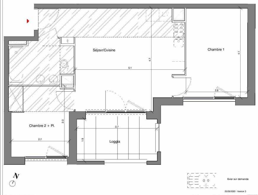 Plan A11, appartement neuf type T3 au 1er étage, faisant 51m² du programme neuf Kubik Garden à Vénissieux.