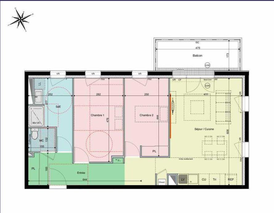 Plan A11, appartement neuf type T3 au 1er étage, orienté Ouest faisant 71m² du programme neuf Les Hauts de Brimberne à Sautron.