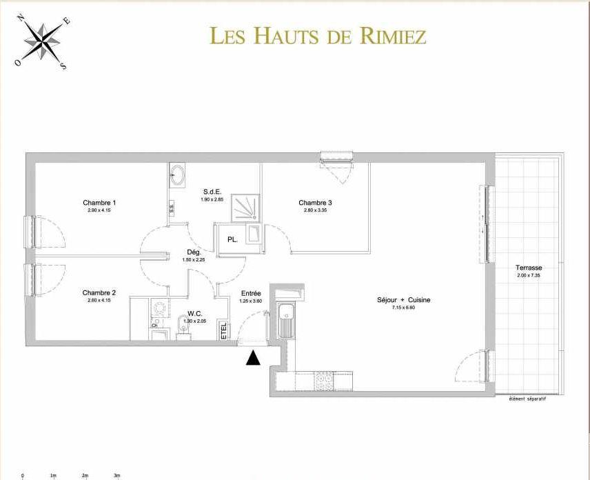 Plan A11, appartement neuf type T4 au 1er étage, orienté Sud faisant 86m² du programme neuf Les Hauts de Rimiez à Nice.