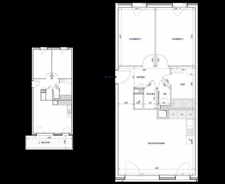 Plan A11, appartement neuf type T3 au 1er étage, orienté Sud faisant 62m² du programme neuf Les Terrasses d'Orgeoise à Coublevie.
