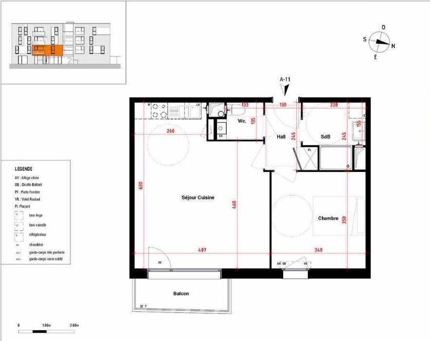 Plan A11, appartement neuf type T2 au 1er étage, orienté Est faisant 48m² du programme neuf Symbioz à Haubourdin.