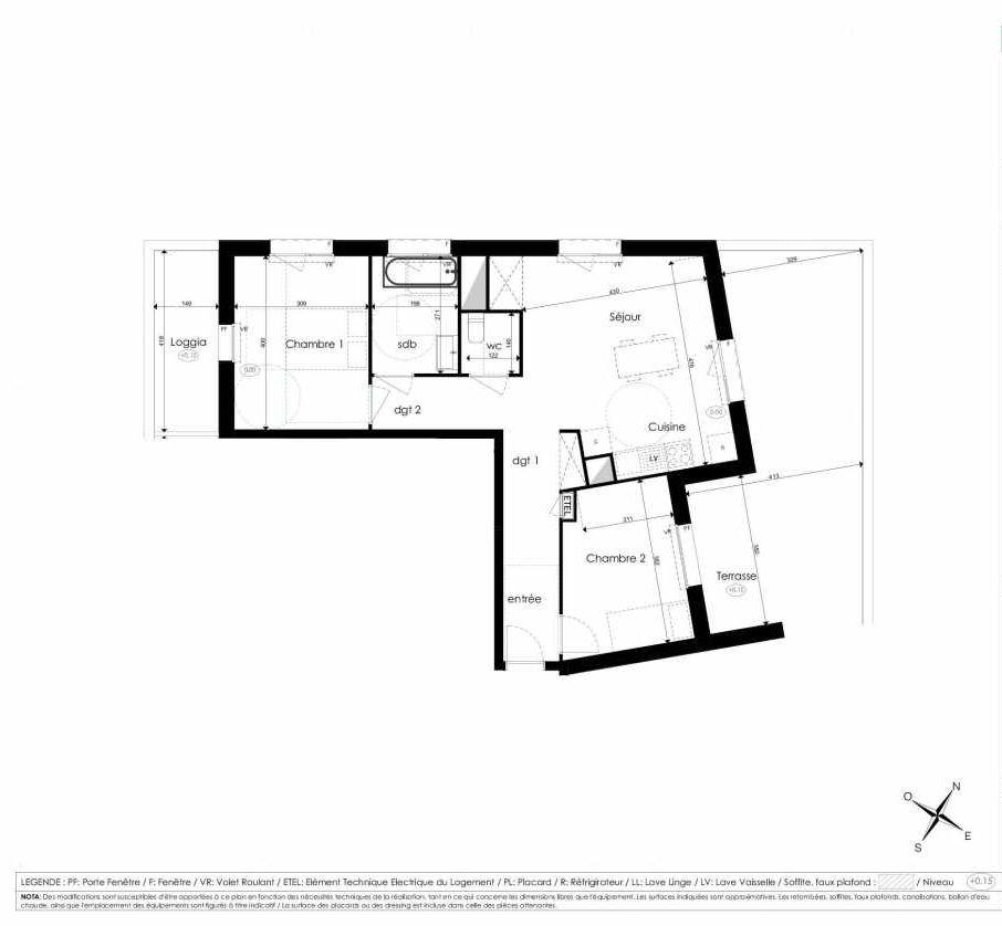 Plan A110, appartement neuf type T3 au 1er étage, faisant 64m² du programme neuf Les Jardins d'Arc à Amiens.