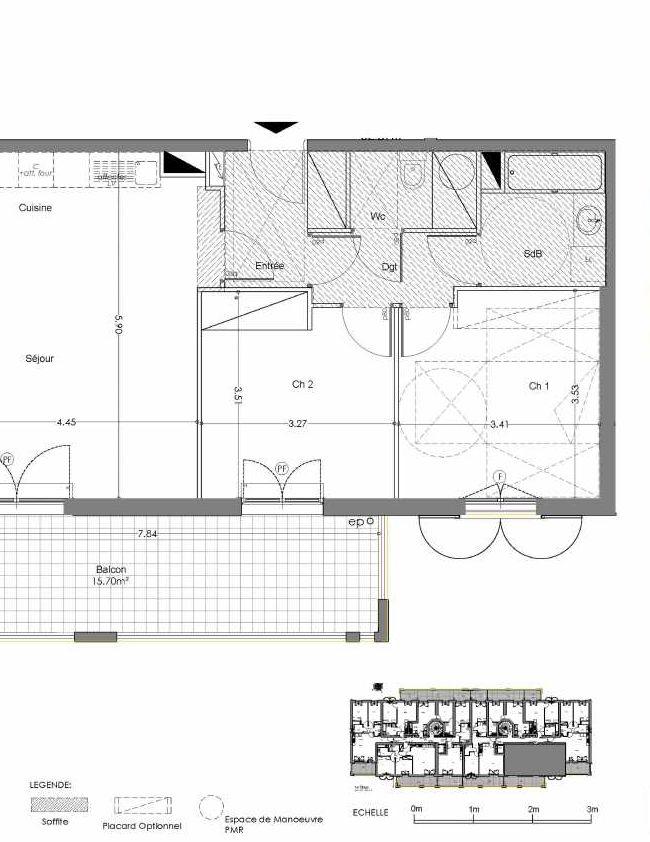 Plan A110, appartement neuf type T3 au 1er étage, orienté Sud faisant 63m² du programme neuf Loderi à Bormes-les-Mimosas.