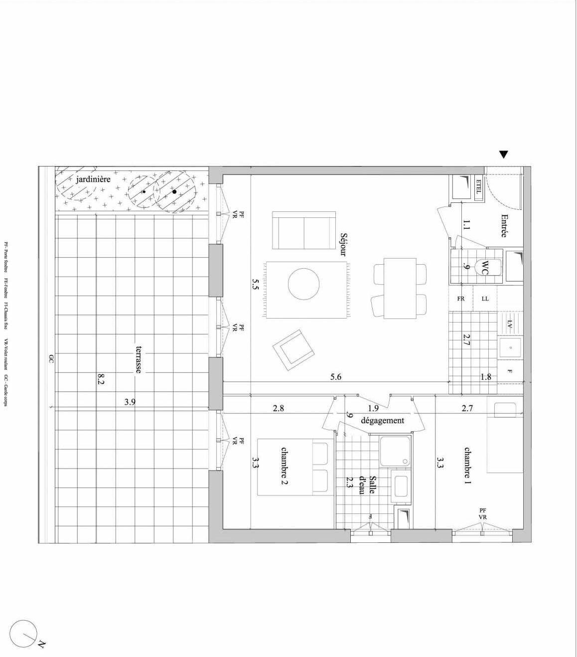 Plan A112, appartement neuf type T3 au 1er étage, orienté Sud faisant 63m² du programme neuf 14SUD - Pinel à Villejuif.