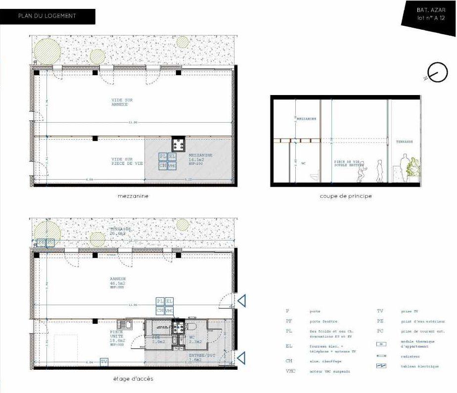 Plan A12, appartement neuf type T5 au 1er étage, orienté Sud faisant 32m² du programme neuf Brazza à Bordeaux.