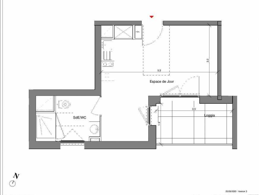 Plan A12, appartement neuf type T1 au 1er étage, faisant 27m² du programme neuf Kubik Garden à Vénissieux.