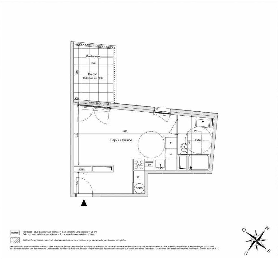 Plan A12, appartement neuf type T1 au 1er étage, orienté Ouest faisant 30m² du programme neuf L'INATTENDU à Morangis.